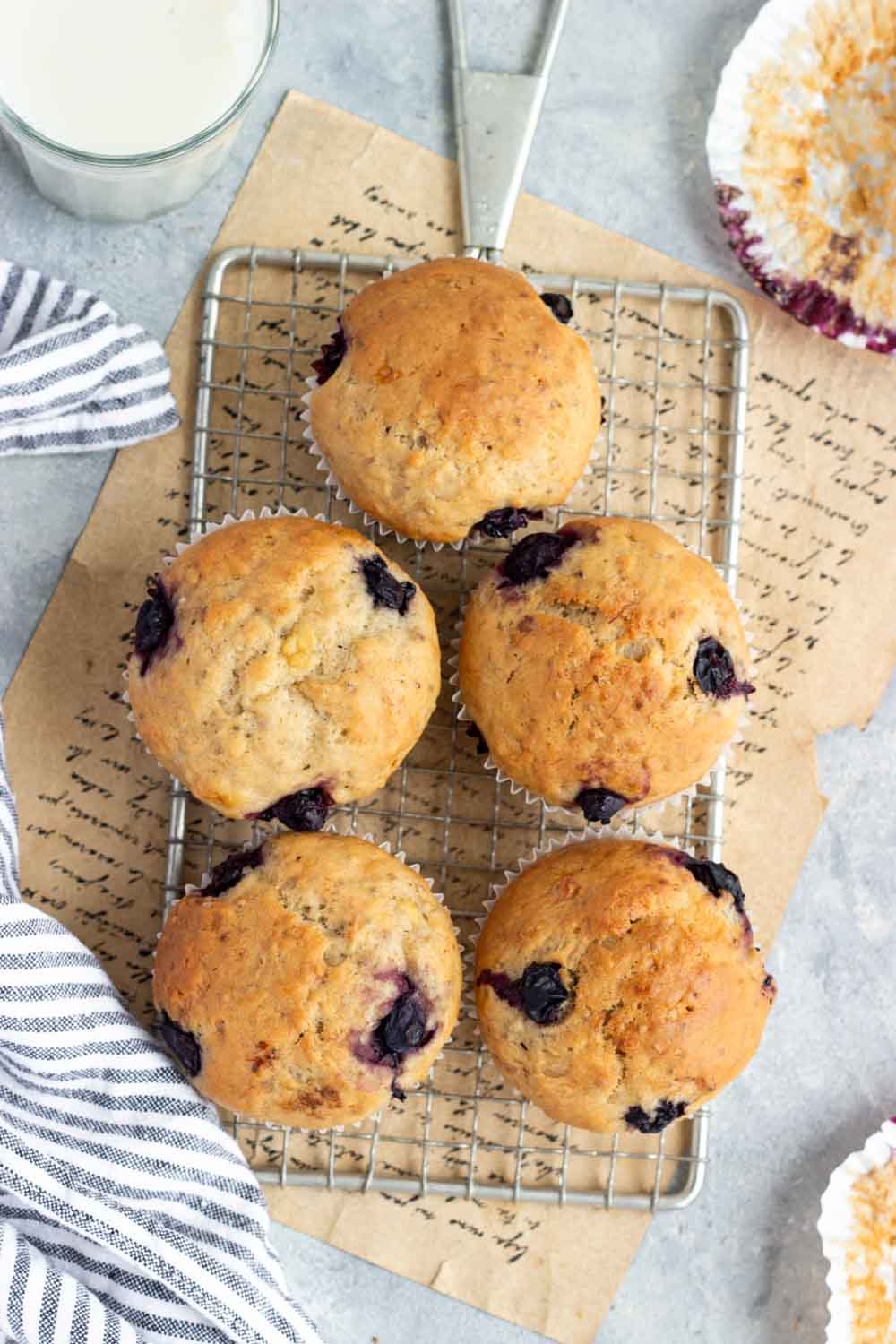 vegan banana bread muffins with blueberry