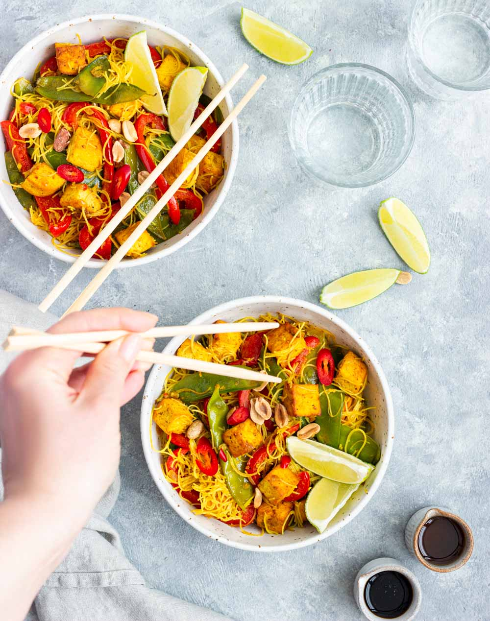 Vegan Singapore noodles with tofu.
